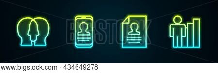 Set Line Project Team Base, Mobile With Resume, Resume And Productive Human. Glowing Neon Icon. Vect