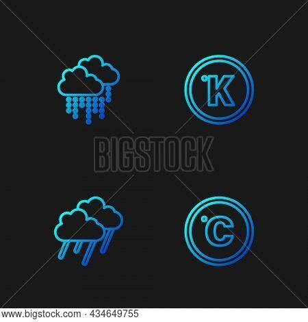 Set Line Celsius, Cloud With Rain, And Kelvin. Gradient Color Icons. Vector