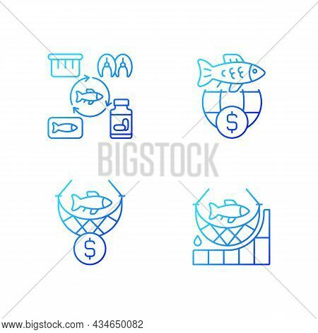 Fish Product Producing And Trade Gradient Linear Vector Icons Set. Commercial Fishing. Producing Sea