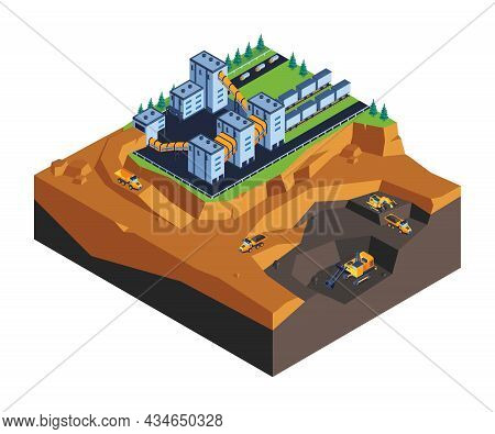 Open Pit Mining Minerals Extraction And Processing Facility Excavators Trucks Ore Loading Machinery