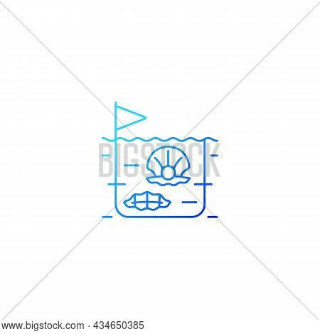 Pearl Farming Gradient Linear Vector Icon. Commercial Production Of Gems. Perliculture. Commercial S