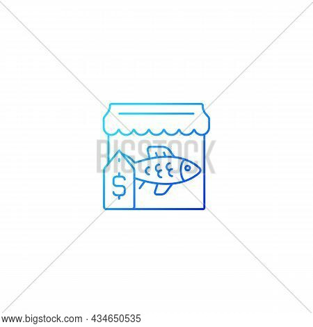 Fish Market Gradient Linear Vector Icon. Fresh, Frozen Seafood Trade And Supply. Fish Marketplace. F