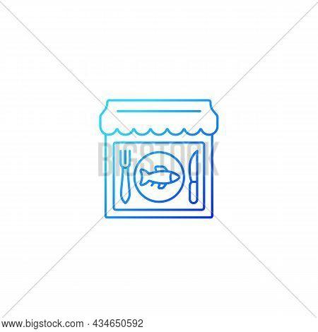 Seafood Restaurant Gradient Linear Vector Icon. Serving Fish, Shrimps. Mediterranean Cuisine. Marine