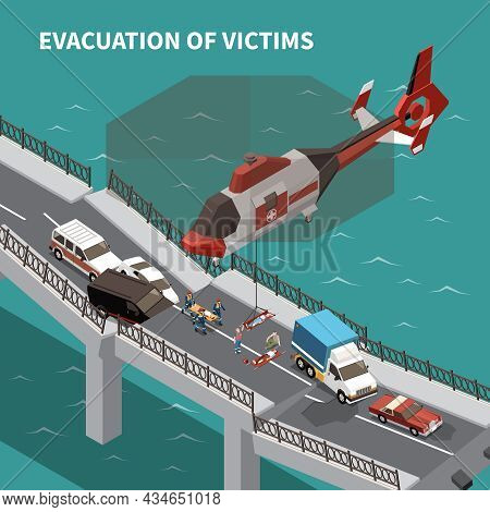 Emergency Isometric Background Demonstrated Evacuation Of Victims By Helicopter After Traffic Accide