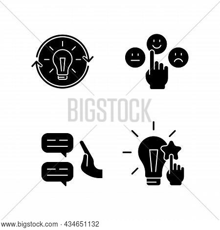 Logical And Rational Thinking Black Glyph Icons Set On White Space. Emotional Maturity. Skeptical Vi
