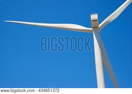 Wind turbine for electric power production, Zaragoza province, Aragon in Spain.