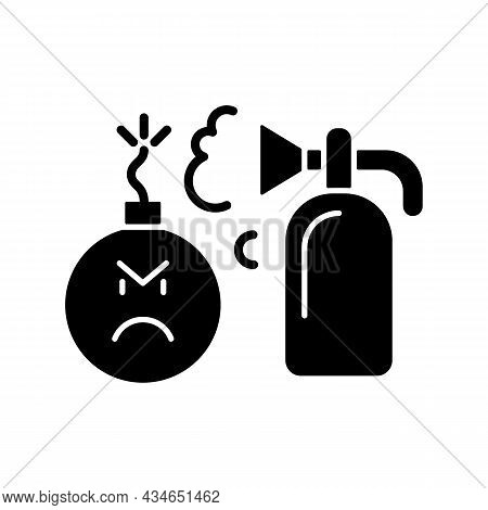 Extinguishing Emotions Black Glyph Icon. Suppressing Feelings And Emotions That You Experience. Self