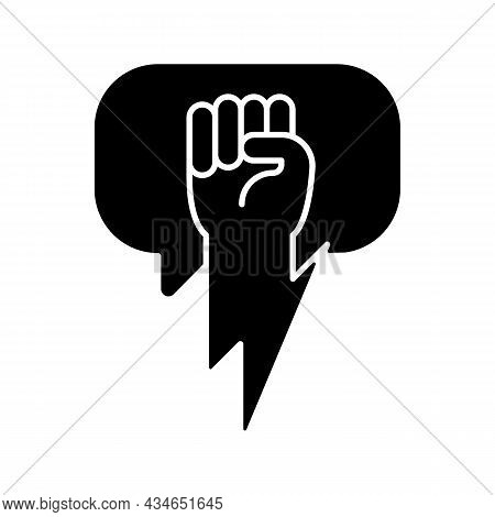 Using Strong Arguments Black Glyph Icon. Use Solid Argumentation During Discussion. Convince Opponen