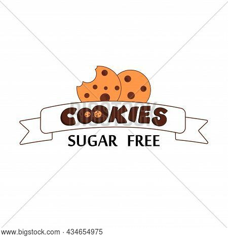 Cookies Sugar-free Logo, Two Light Beige Cookies With The Chocolate Chip On The White Ribbon, Hand L