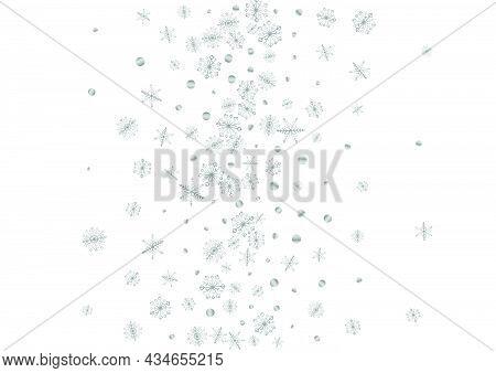 Metal Confetti Background White Vector. Snowflake Subtle Illustration. Luminous Flake January. Silve
