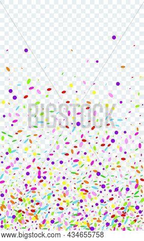Blue Confetti Background Transparent Vector. Circle Flying Design. Eve Illustration. Orange Dot New