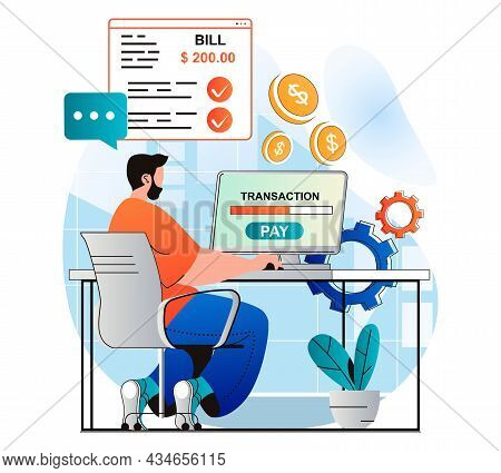 Online Payment Concept In Modern Flat Design. Man Conducts Online Financial Transaction With Compute