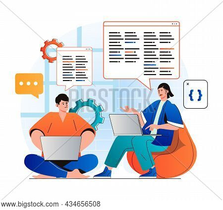 Programming Working Concept In Modern Flat Design. Developer Team Creates Software, Brainstorming An