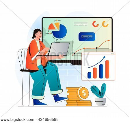 Sales Performance Concept In Modern Flat Design. Woman Works With Financial Statistics, Profit Growt