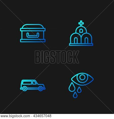 Set Line Tear Cry Eye, Hearse Car, Coffin With Cross And Church Building. Gradient Color Icons. Vect