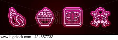 Set Line Scallop Sea Shell, Caviar, Sushi On Cutting Board And Octopus. Glowing Neon Icon. Vector