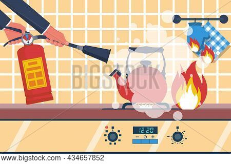Fire In The Kitchen. Accident In The Kitchen. Working Surface With A Burning Kettle. Vector Illustra