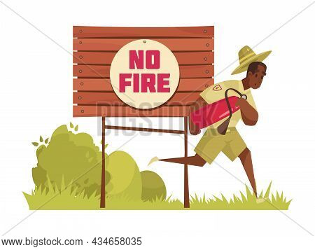 Cartoon Composition With Male Forest Ranger Running To Extinguish Fire Vector Illustration