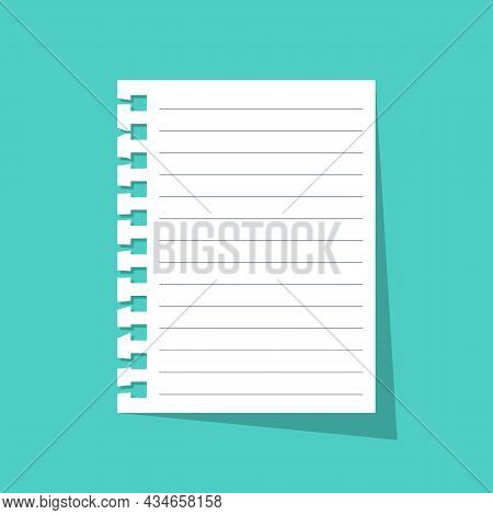 Sheet With Notepad. Memo Concept. Broken Page From A Diary. Note On A White Blank Pure Sheet. Vector