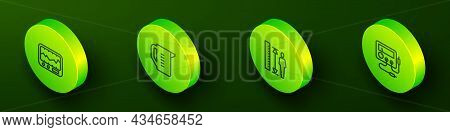 Set Isometric Line Measuring Instrument, Cup, Height Body And Multimeter, Voltmeter Icon. Vector