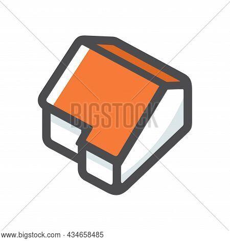 Home Simple Building Vector Icon Cartoon Illustration