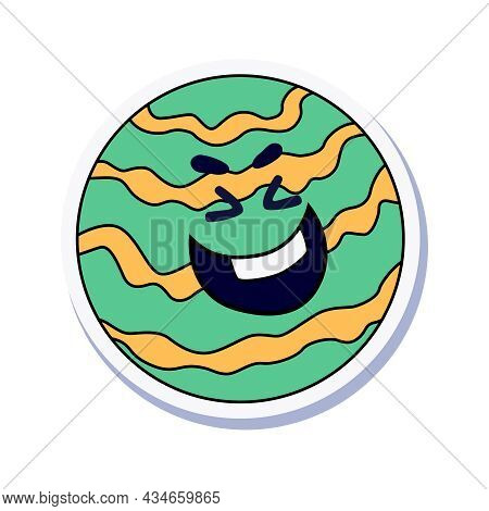 Funny Laughing Planet Doodle Sticker Vector Illustration