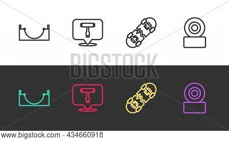Set Line Skate Park, Skateboard T Tool, Broken Skateboard And Wheel On Black And White. Vector