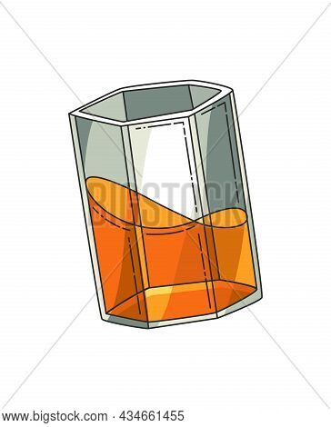 Glass Of Whiskey. Realistic Vector Glass With Smokey Scotch Whiskey Isolated On White Background. Gl