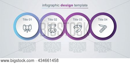 Set Line Elephant, Hippo Or Hippopotamus, Snake And Swiss Army Knife. Business Infographic Template.