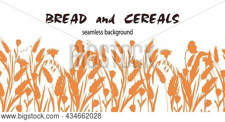 Endless Wheat, Barley And Oat Cereals Silhouette Background, Flat Vector Illustration Isolated On Wh