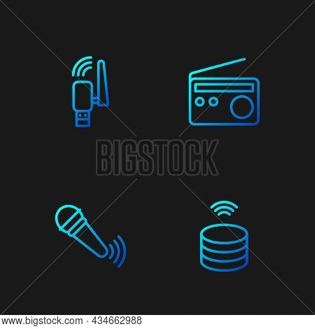 Set Line Smart Data Server, Wireless Microphone, Usb Wireless Adapter And Radio. Gradient Color Icon