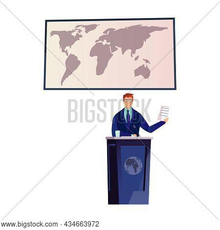Speaker Giving Speech At Political Conference Flat Vector Illustration