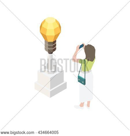 Exhibition Isometric Icon With Visitor Taking Photo Of Contemporary Artwork Vector Illustration