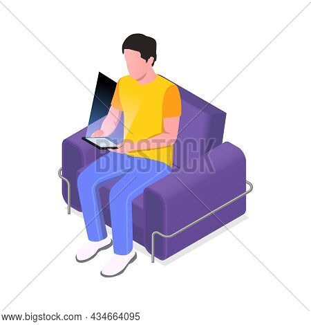 Isometric Icon Of Man Character Reading Ebook In Armchair Vector Illustration