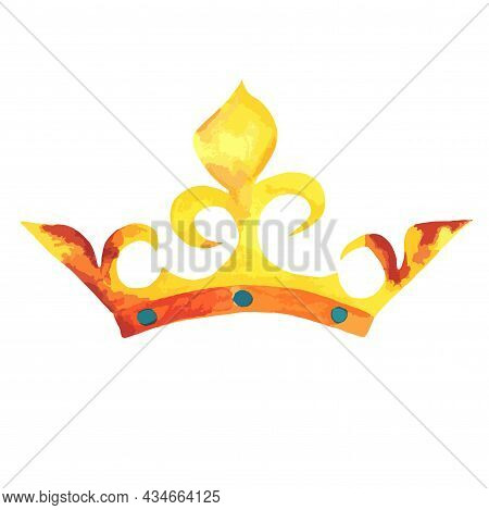 The Golden Crown Of King, Prince, Monarch, Dynasty With Rust Spots And Blue Stones, Curlicues. Water
