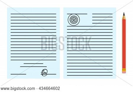 Notary Service Advertisement. Legal Paper Document Or Contract Isolated On Blue Background. Color Ve