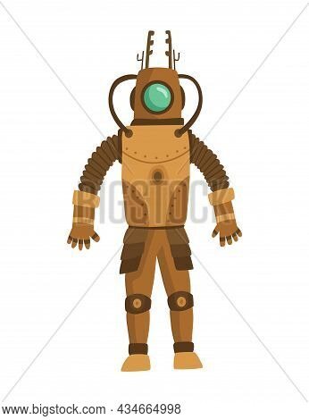 Steampunk Fashion Technology, Fantasy Vintage Illustration With Cartoon Man In Steampunk Robot Costu