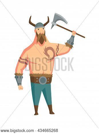 Viking Man With Horned Helmet And Axe. Bearded Men Warrior Or Hero Of Scandinavian Legends. Cartoon