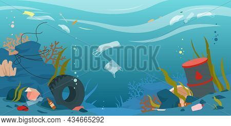 Cartoon Dirty Underwater Landscape With Pollution, Plastic Bottle And Bag, Paper Packaging Environme