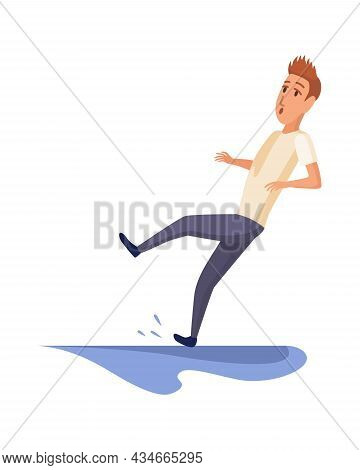 Falling Man. Falling Down People Because Of Slipping, Accident. Young Men Dangerous Accident. Slippe