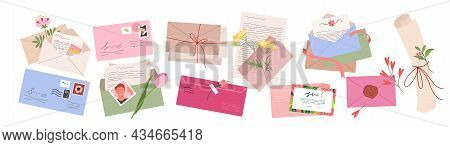 Cartoon Retro Envelopes With Postage Stamp, Postal Invitation, Travel Postcard And Hand Written Call