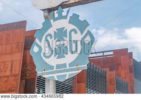 Gdansk, Poland - July 9, 2021: Logo Of Gdansk Shipyard (formerly Lenin Shipyard) At Historic Gate No