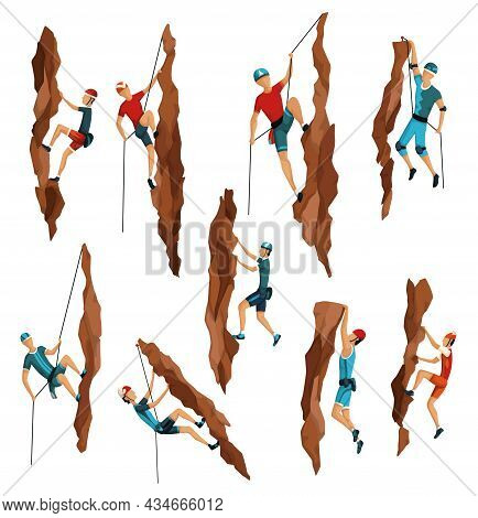Mountain Climbing. Mens Climbing On A Rock Mountain With Professional Equipment. Bouldering Sport. G