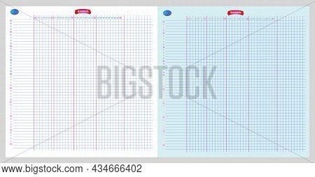 Schedule Diary Each Day For Month Note Blank Illustration. Planning Table Graph Grid Lined Paper Bac