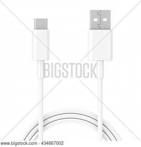 White Usb Type C Charger Cable For Smartphone On A White Background. 3d Rendering