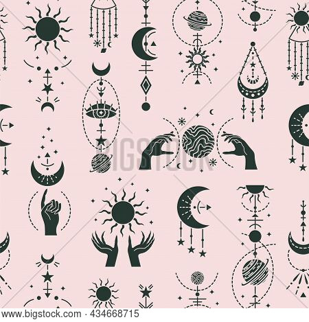 Vector Magic Seamless Pattern With Mystery Symbols. Magical Background