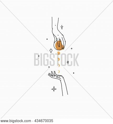 Hand Drawn Vector Abstract Stock Flat Graphic Illustration With Branding Logo, Bohemian Celestial Ma