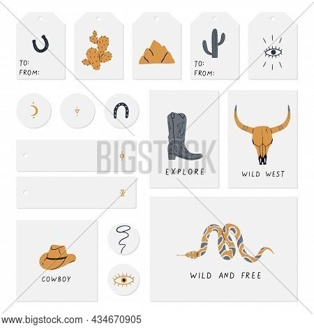 Set Of Cards, Notes, Stickers, Labels, Stamps, Tags With Wild West, Buffalo Skull, Eye, Mountains, C