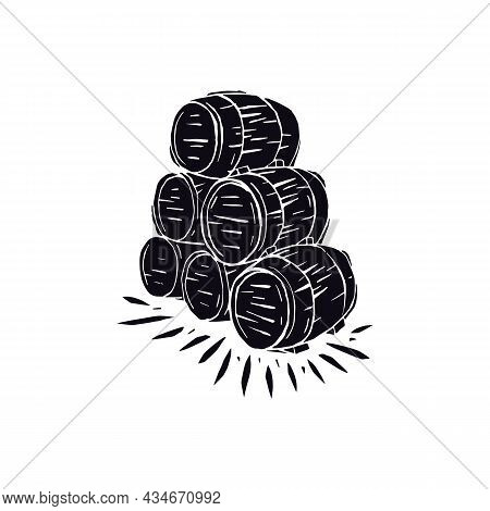 Stack Of Wooden Barrels Vector Illustration In Linocut Style. Black Print On White Background