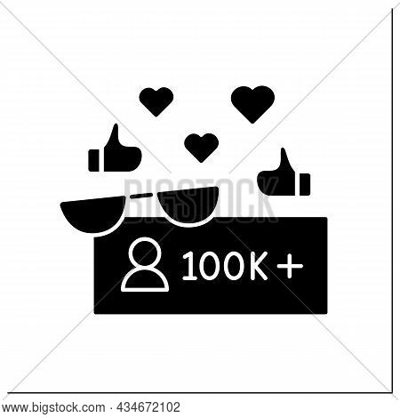 Followers Glyph Icon. Macro Influencer. Blogger With One Hundred Thousand Plus Subscribers. High Inf